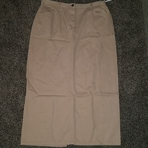 Evan Picone khaki twill long skirt size 14